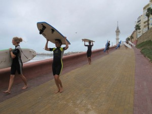 a surfing class in Cadiz (NOT mine)
